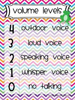 Volume Levels for Classroom Management... I use these in my classroom, with a very slight variation in the terms.... Works quite well, I might add