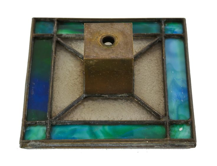 original c. early 20th century american prairie school style richly colored leaded art glass shade with patinated brass socket housing