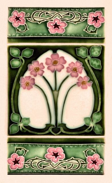 Art Nouveau Tile pink white green