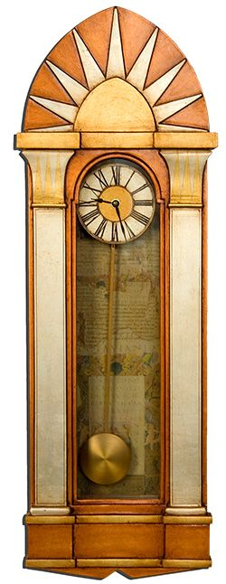 Chamberlain Art Deco Case Clock:  This hand made pendulum wall case clock is an 'homage' to the Deco lines of the Chrysler Building. This beautiful case clock's Art Deco styling is subtly enhanced through the case clocks mixed gilded leaf finish and the 1930's architectural collage prints used to line the clock's casement to give it that final touch of Deco refinement and sophistication.