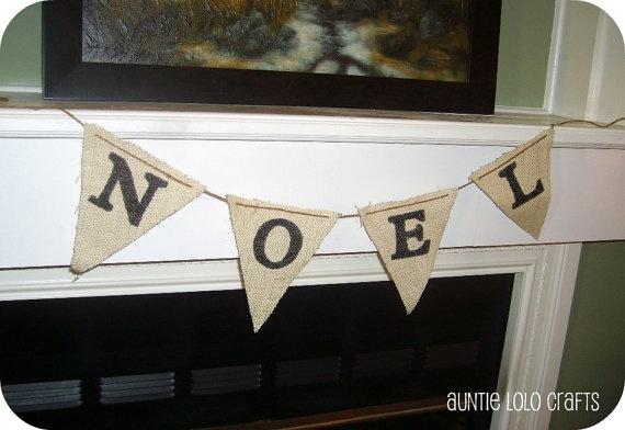Burlap NOEL Christmas Pennant Banner $6.00