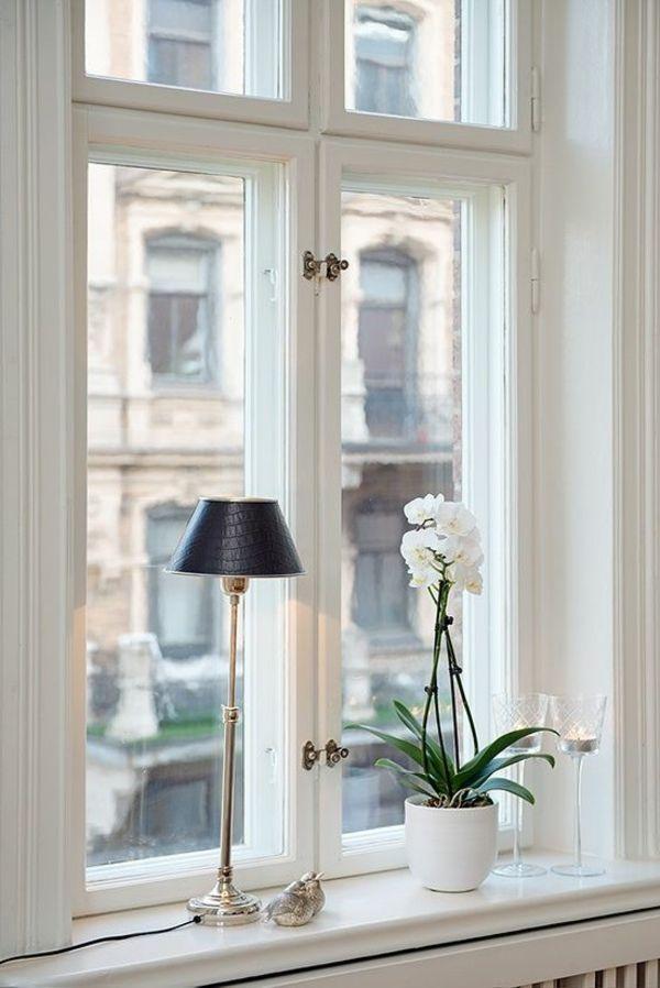schöne wohnideen pflanze tischlampe fensterbank dekorieren