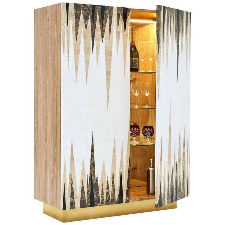 Storm Cocktail Cabinet in Marble Marquetry | 1stdibs.com