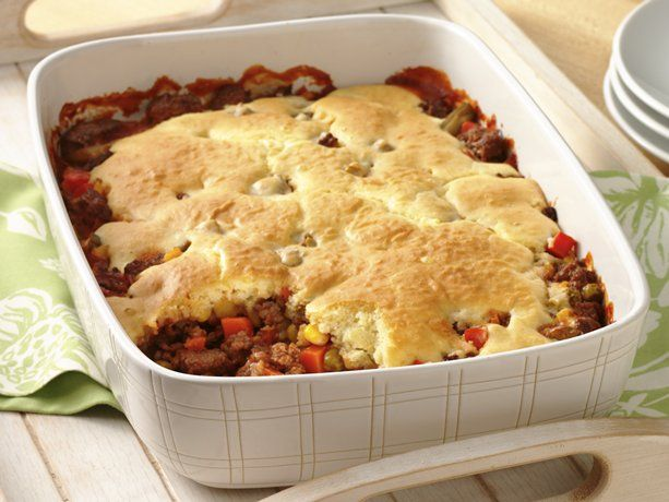 Easy Hamburger Pot Pie- Just made it using frozen Mediteranean veggie/potatoes steamers and cream of mushroom soup and a little rosemary in the Bisquick topping. YUM will do it again