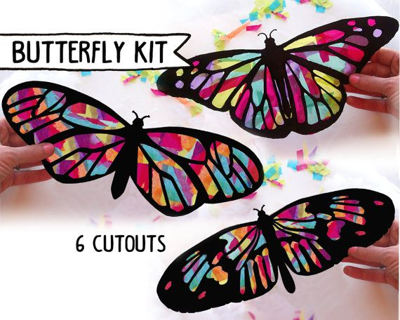"Beautiful Butterfly craft kit- using tissue paper to create a ""stained glass"" effect.    https://www.etsy.com/listing/225985282/kids-craft-butterfly-stained-glass"