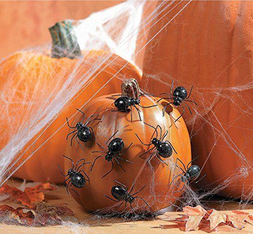 Halloween Spider Pumpkin Push-Ins Pack of 12