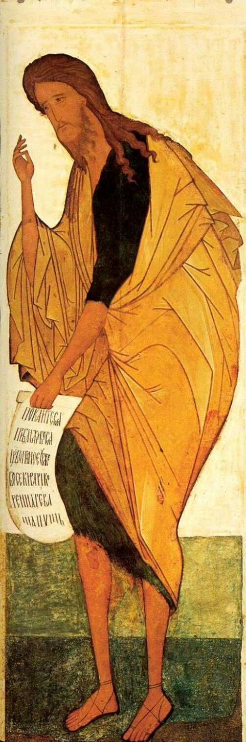 Icona della Deesis dalla cattedrale della Dormizione di Vladimir. Andrey Rublëv e aiuti. Tret'jakov Gallery Mosca . San Giovanni Battista.