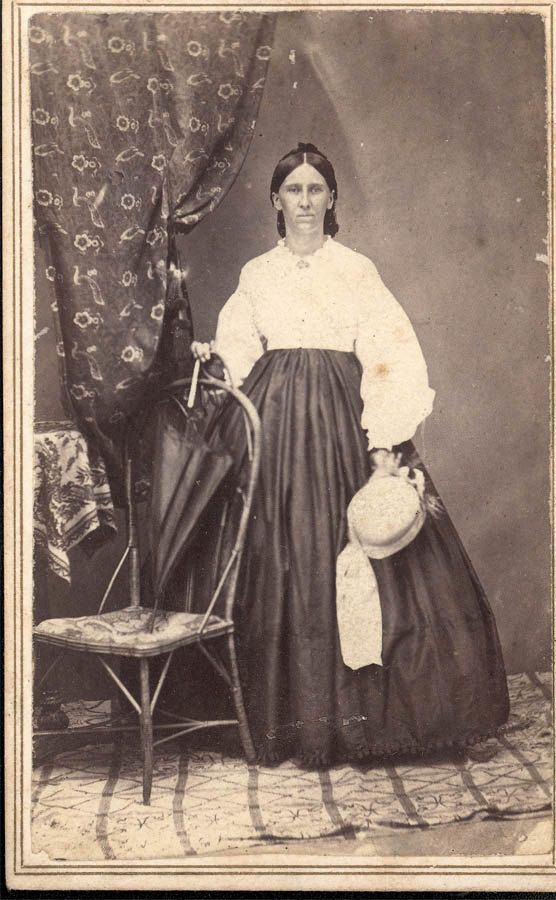 Vintage Photo Cdv Civil War Era Woman Holds Umbrella In