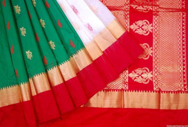 Kanjipuram Ganga Jamuna Border Pure Silk Saree w/ Blouse Pc K-20170407-1