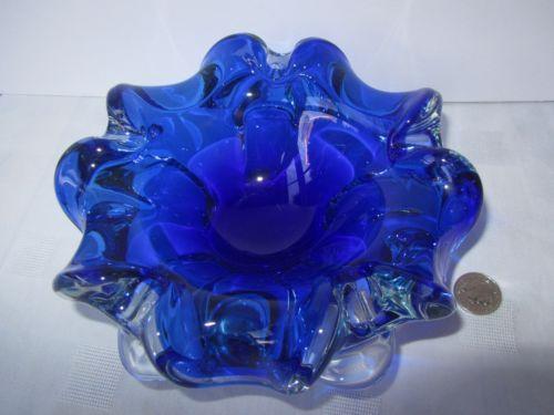 Vintage Murano Cased Art Glass XX Heavy 2.2kg Large Cobalt Frilled Bowl Dish