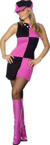 60er Jahre Disco Kostüm Damen schwarz-pink