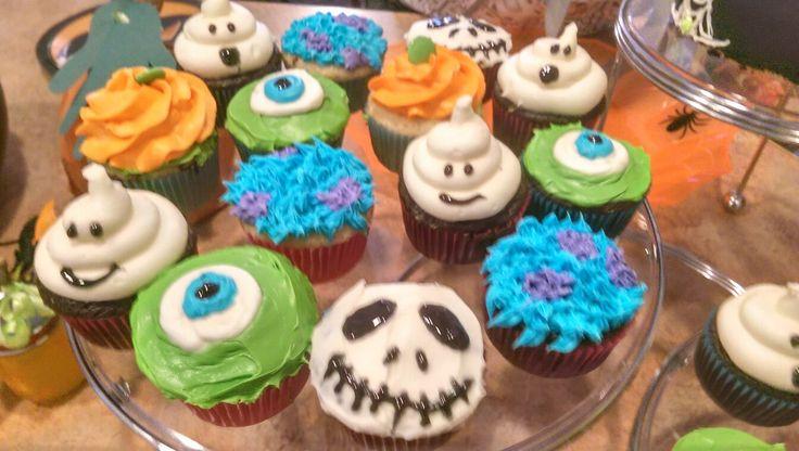 Halloween cupcakes pumpkins, ghost emoji, Disney Jack skellington, mike wasowski, sully