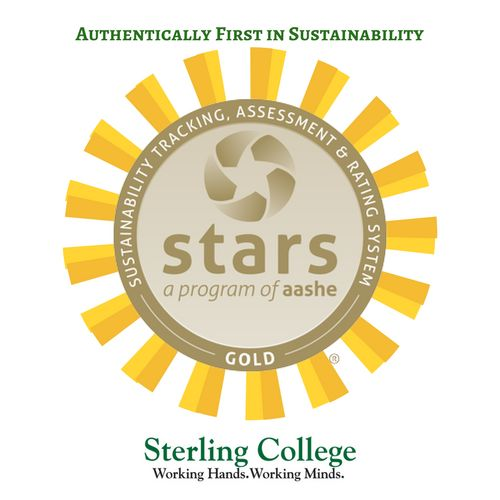 Sterling College has received a STARS Gold rating from the Association for the Advancement of Sustainability in Higher Education (AASHE), ranking first in sustainability performance in Vermont and fourth in North America