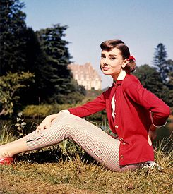 Audrey Hepburn on the set of 'Love In The Afternoon', 1957.Adorable Audrey, Fashion, Red, Vintage, Afternoon 1957, Beautiful, Audrey Hepburn, Style Icons, Audreyhepburn
