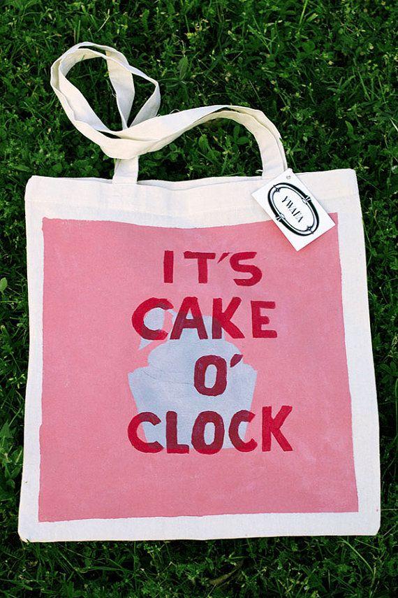 "Sac cabas ""It's Cake O'Clock"" Rose"