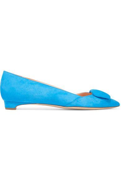 Rupert Sanderson - Aga Suede Point-toe Flats - Bright blue - IT41