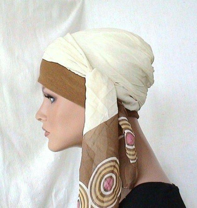 Kopftücher - Tuch m. Mütze Kopftuch Creme Braun f. CHEMO - ein Designerstück von Goldrute-100 bei DaWanda