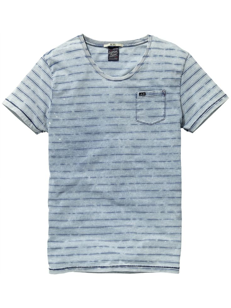 Indigo T-shirt met patroon T-shirt s/s Mannenkleding bij Scotch & Soda