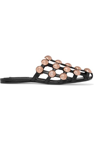 Alexander Wang - Amelia Studded Leather Slippers - Black