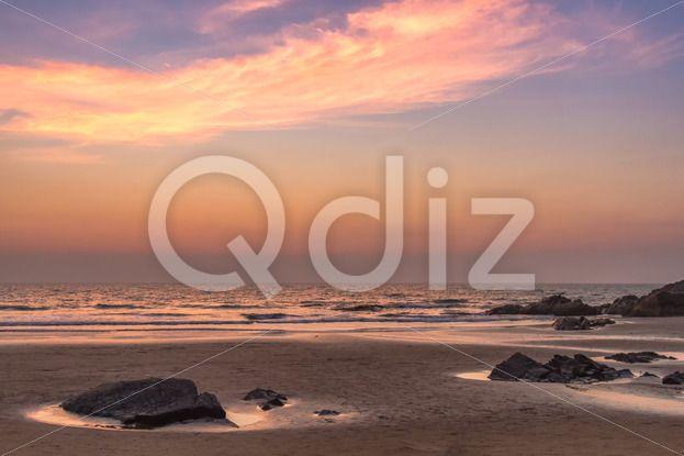 Qdiz Stock Photos | Sunset at sea beach,  #afterglow #arabian #beach #calm #cloud #coast #coastline #decline #dream #dusk #evening #fall #goa #horizon #india #mood #nature #ocean #reflection #sand #sea #seascape #set #shore #sky #summer #sundown #Sunset #tranquility #twilight #water #wave #wet #wildlife