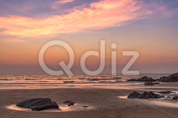 Qdiz Stock Photos | Sunset at sea beach,  #afterglow #arabian #beach #calm #cloud #coast #coastline #decline #dream #dusk #evening #fall #goa #horizon #india #mood #nature #ocean #reflection #sand #sea #seascape #set #shore #sky #summer #sundown #Sunset #tranquility #twilight #water #wave #wet #wildlife