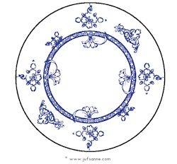 Delfts blauw bord. Kijk bij kringactiviteiten voor diverse verwerkingen.