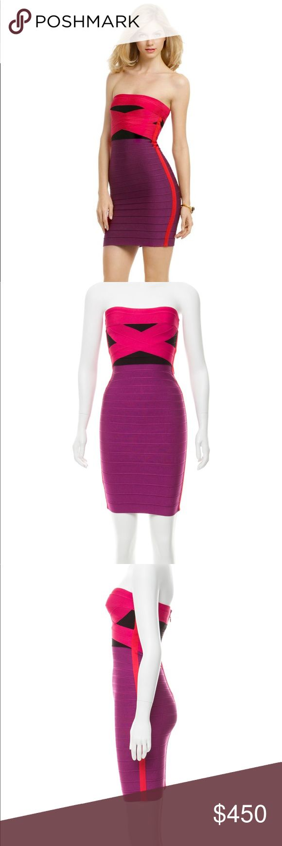 Herve Leger Bandage Purple & Pink Strapless Dress Stunning, sexy and strapless Herve Leger Dress with slimming vertical lines on the side and back. Beautiful waist flattering design on back.   Purple and pink / black color block stretch bandage dress. Perfect for your next night out on the town, special evening or celebration. You'll feel so gorgeous and fabulous! Herve Leger Dresses