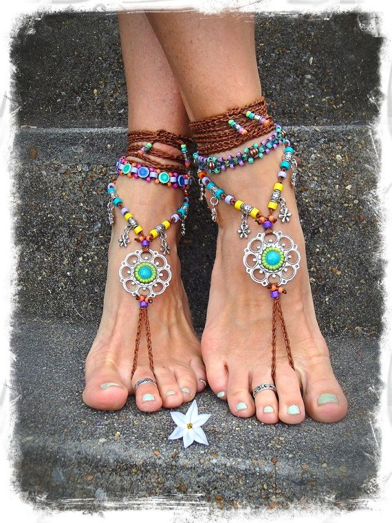 SHOPS EUROPE? Aqua blue ANKLET glass beads Purple anklet bead woven by etsy.com GPyoga