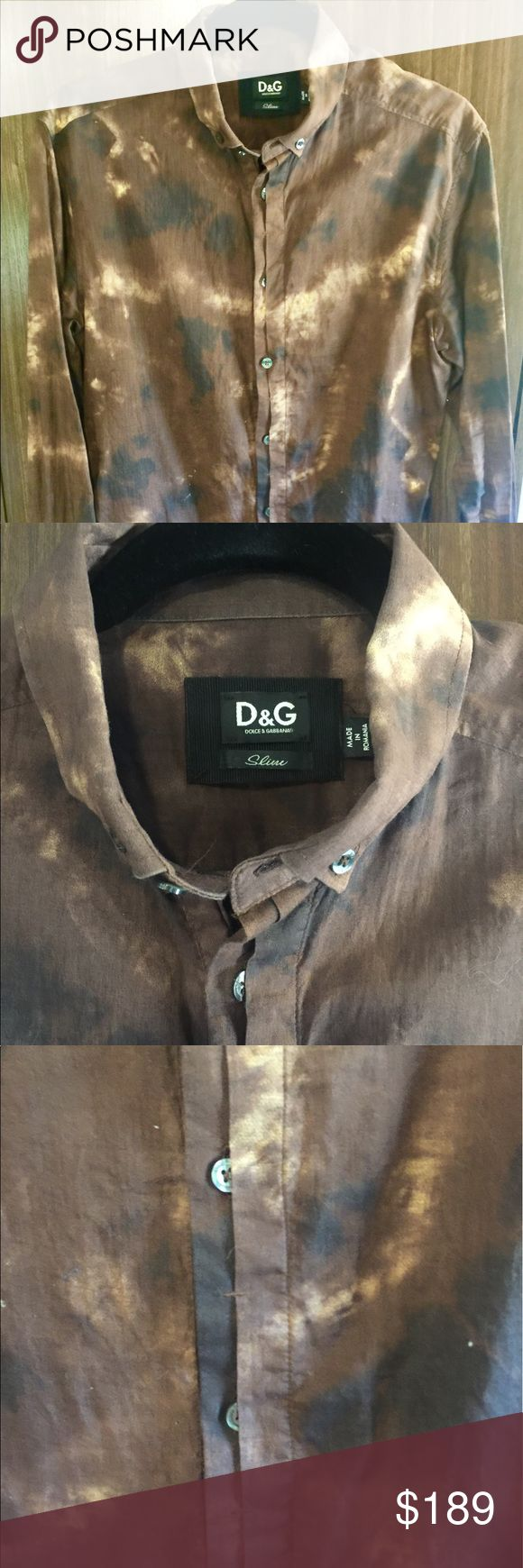 DOLCE AND GABBANA MENS BUTTON DOWN SLIM FIT SHIRT Great condition. Authentic Dolce and Gabbana Men's Slim Fit Brown Printed Button Down Shirt. Size 48. 100% Cotton. Originally paid 749 for it and has only been worn a couple times. Offers welcome. Dolce & Gabbana Shirts Dress Shirts