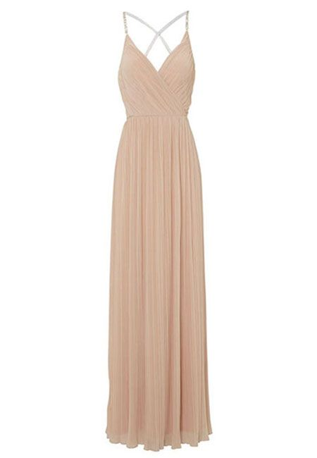 Simple v neck chiffon champagne long prom dress, champagne evening dress for teens