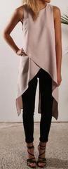 Romoti Chiffon Irregular Sleeveless Top - L / Khaki