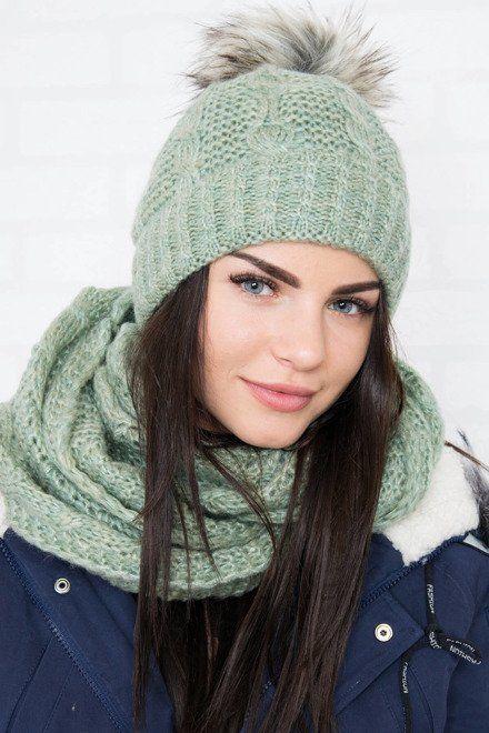 a6d72637f Zimná súprava zelená | Dámske čiapky a šály | Zelená, Pletenie, Šály