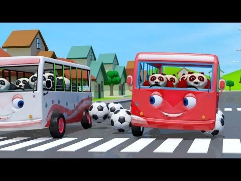 Red and white pandas have fun and play football with their favorite buses. Red and white buses play football in this version of Wheels on the Bus rhyme. This is a fun  song for kids | Wheels on the bus go round and round | Youtube wheels on the bus | Nursery rhymes | Baby songs | Kiddiestv