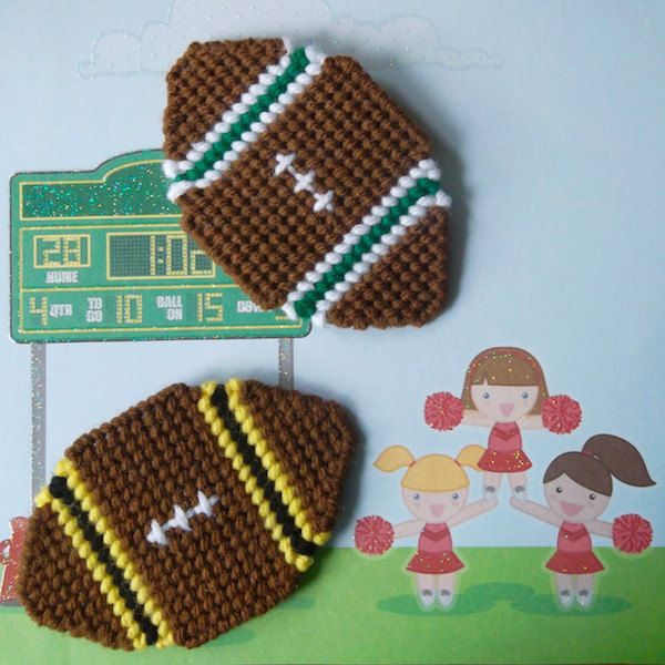 "Plastic Canvas: Football Fever -- Football Magnets (set of 2), ""Ready, Set, Sew!"" by Evie"