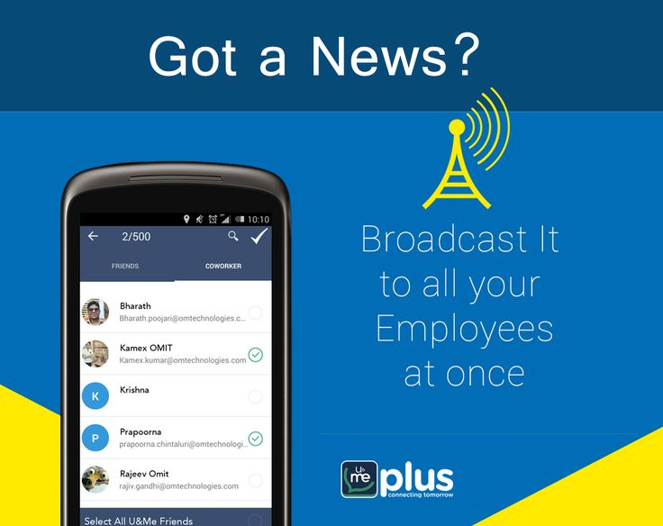 Want to announce some important news to your employees? Broadcast the message to all at a time via U&Me Plus -The #enterprise #mobile #messenger.