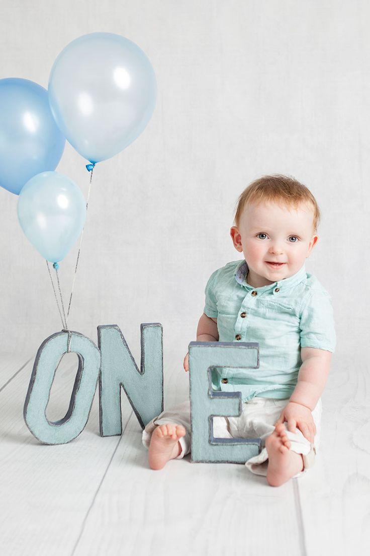 First birthday photos blue and cream