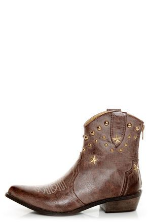 Denco 1 Brown Star Studded Ankle Cowboy Boots! Lulu's and they're exactly the style I like and they're VEGAN cowboy boots!