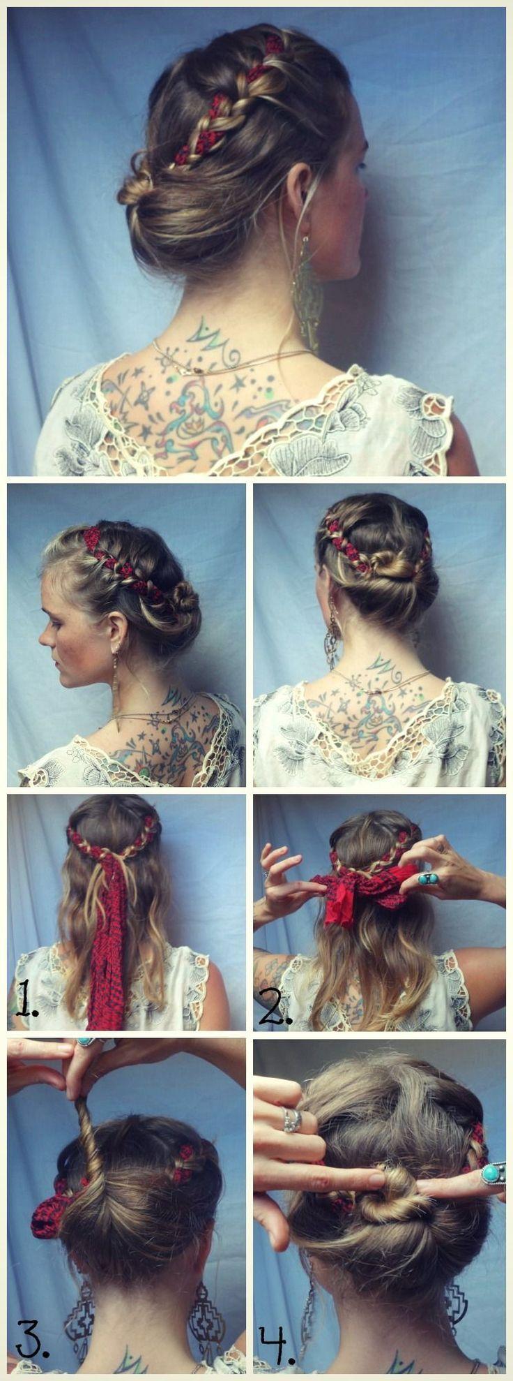 coiffure foulard tresse