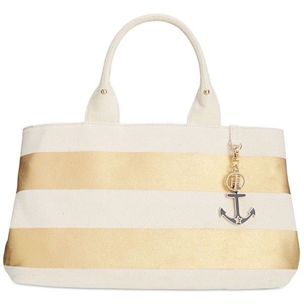 Tommy Hilfiger Jolene Metallic Rugby Stripe Shopper Tote (1.104.905 IDR) ❤ liked on Polyvore featuring bags, handbags, tote bags, gold, white handbags, tommy hilfiger handbags, white tote, shopping tote bags and gold tote