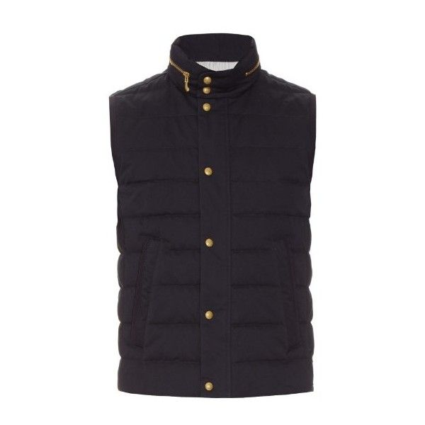 Moncler Gamme Bleu Quilted cotton-gabardine gilet (£780) ❤ liked on Polyvore featuring men's fashion, men's clothing, men's outerwear, men's vests, navy multi, mens navy vest, mens quilted vest, mens cotton vest, mens slim fit vest and mens navy blue vest