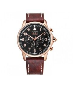 Cerruti 1881 Multifunction Brown Leather Strap CRA081C223G