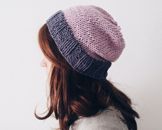 Lilac and Grey Knit Hat Cotton Beanie Slouchy Hipster by kckshop
