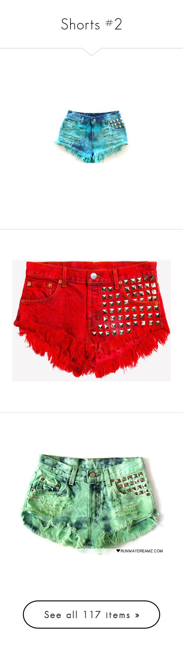 """""""Shorts #2"""" by mildabas ❤ liked on Polyvore featuring shorts, bottoms, pants, blue, high waisted studded shorts, high rise shorts, studded shorts, high-rise shorts, blue shorts and red"""