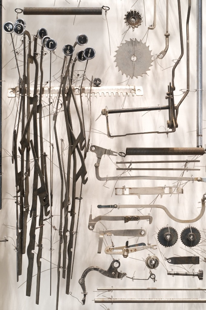 Detail from: Paula Louw. I Loved. Typewriter parts, wire, plexiglass.