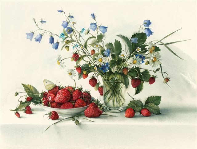 Iona House Gallery - Elena Bazanova 'Wild Strawberries with Daisies & Harebells' Ltd Edition Giclée Print 41x54cm