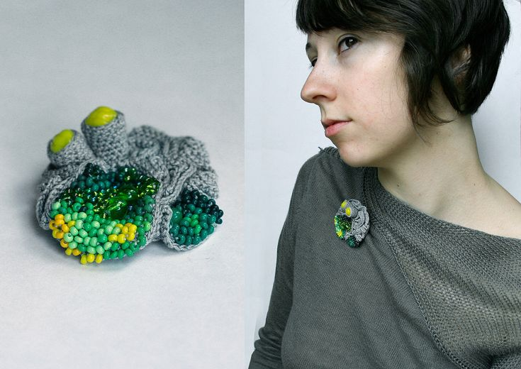 https://flic.kr/p/6ufT1S | new brooch | with green and yellow beads