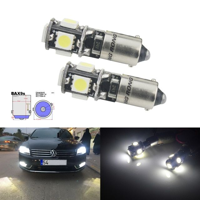 Angrong 2x H6w 434 Bax9s Canbus Error Free 5 Smd Led Parking Side Light Bulbs Xenon White Review Light Bulbs Side Lights Bulb