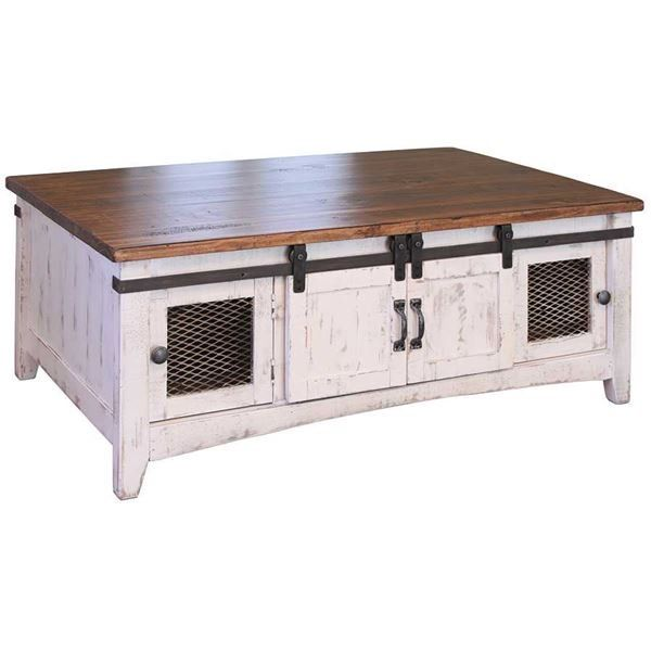 Pueblo White Cocktail Table New House Barn Door Tv