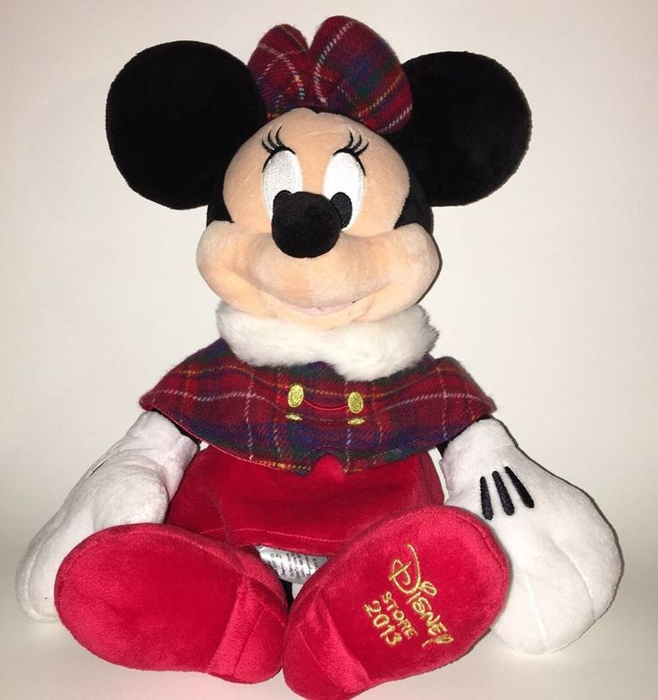 "Minnie Mouse Christmas Holiday Plush Disney Store Large 18"" 🔥 Free Shipping 🔥 #DisneyStore"