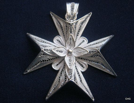 Handmade Sterling Silver Maltese Cross Filigree Pendant by TrulyFiligree, $48.50